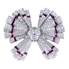 Teone Diamond Pave and Invisible Set Ruby White Gold Bow Pendant/Brooch