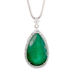 Diamond Pave and Pear Shape Emerald Gold Pendant Necklace