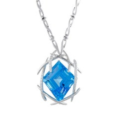Diamond Pave Topaz White Gold Pendant Necklace