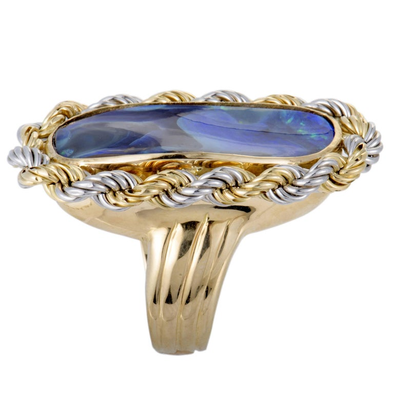 Oval Cut Opal and Gold Cocktail Ring For Sale