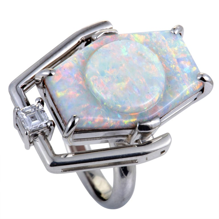 Diamond and Milky Opal Platinum Cocktail Ring For Sale