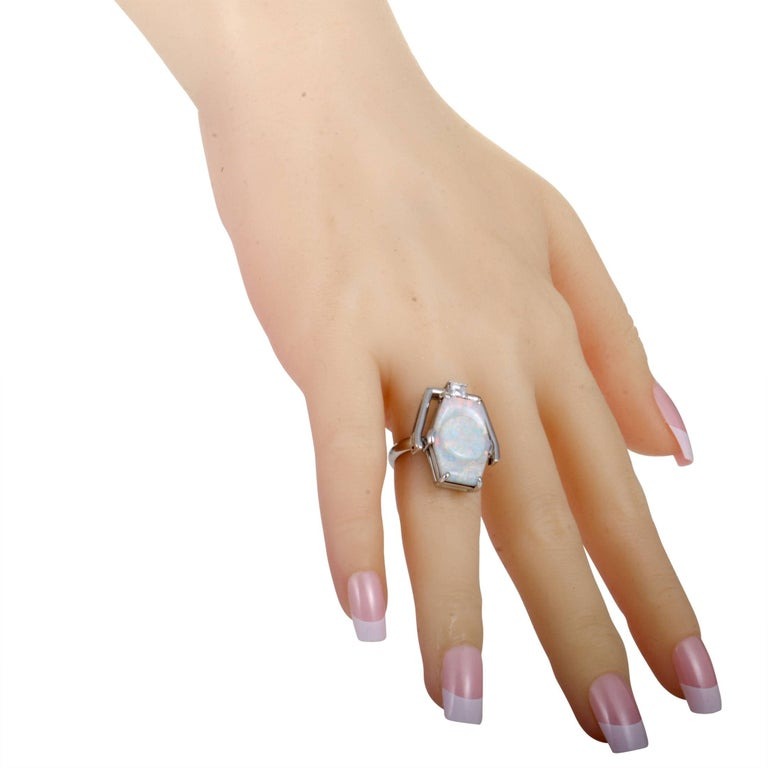 Women's Diamond and Milky Opal Platinum Cocktail Ring For Sale