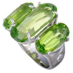Peridot and Diamond Platinum Cocktail Ring