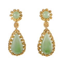 Jade and Diamond Teardrop Gold Dangle Earrings