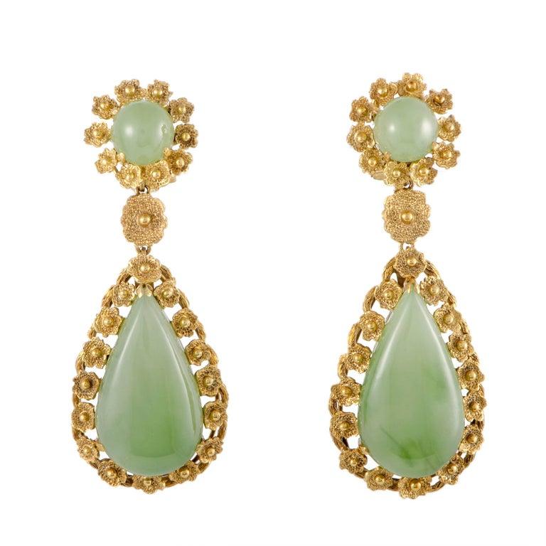 Jade and Diamond Teardrop Gold Dangle Earrings