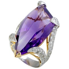 Diamond Pave and Large Teardrop Amethyst Platinum and Yellow Gold Ring