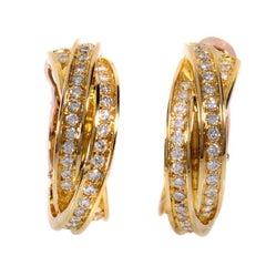 Trinity De Cartier Diamond Pave Gold Hoop Earrings