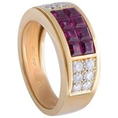 Goldener Bandring von Cartier mit Diamant- und Rubin-Pavé