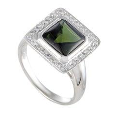 Platinum Diamond and Green Tourmaline Cabochon Square Ring