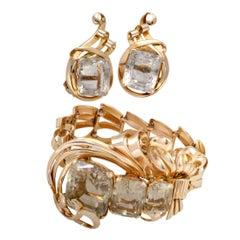 Vintage Citrine Rose Gold Bracelet and Earring Set