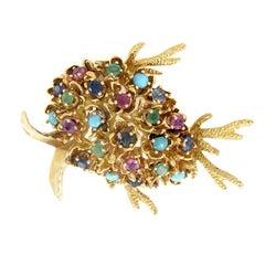 Gemstone Yellow Gold Fish Brooch