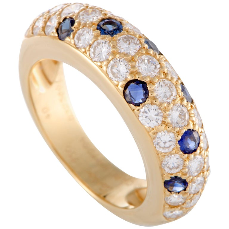 Cartier Yellow Gold Diamond and Sapphire Pave Band Ring For Sale