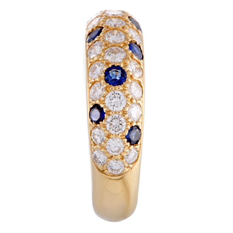 Cartier Yellow Gold Diamond and Sapphire Pave Band Ring In Excellent Condition For Sale In Southhampton, PA
