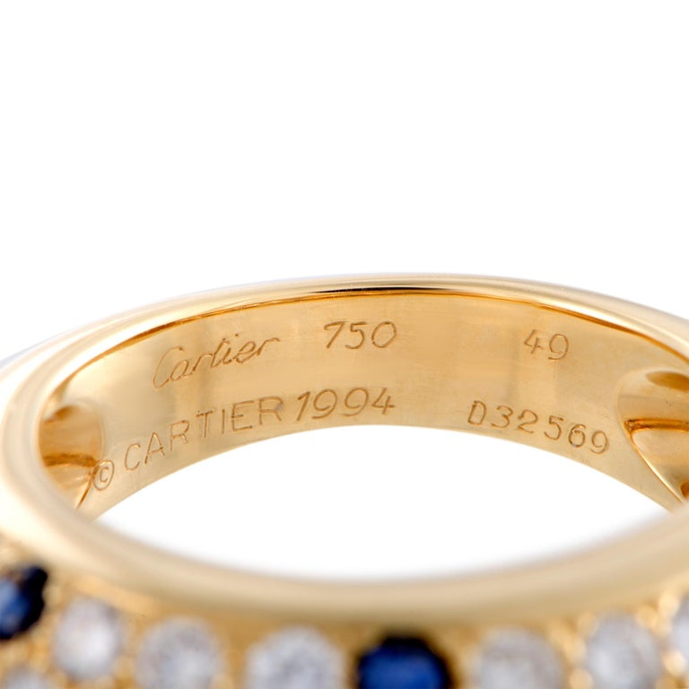 Women's Cartier Yellow Gold Diamond and Sapphire Pave Band Ring For Sale