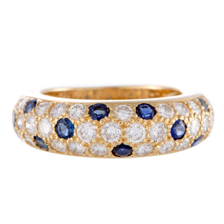 Cartier Yellow Gold Diamond and Sapphire Pave Band Ring For Sale 1