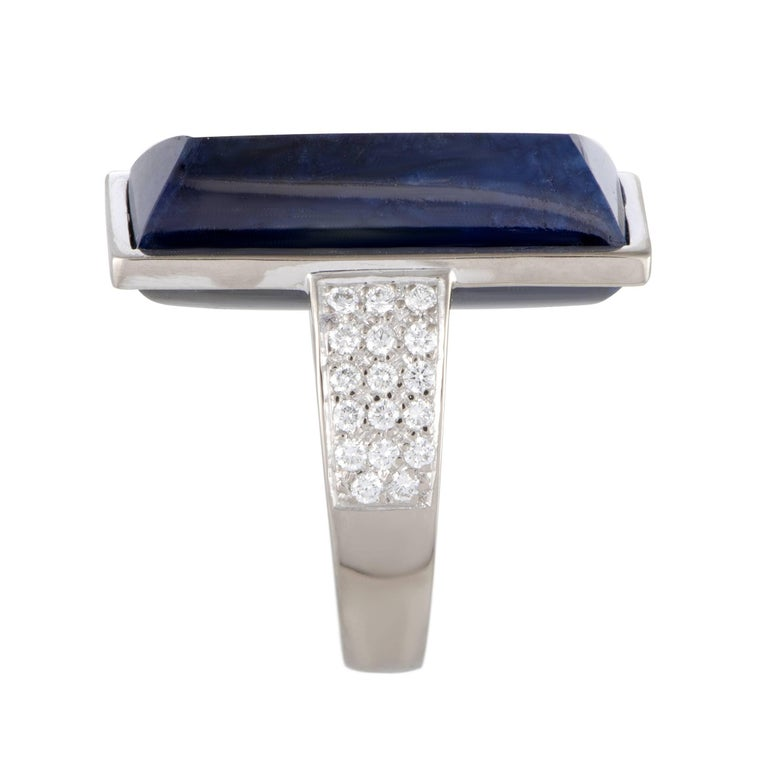 Emerald Cut Vasari Lapis and Diamond Pave Large Gold Cocktail Ring For Sale