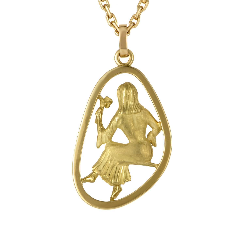 boucheron gold virgo pendant necklace for sale at 1stdibs