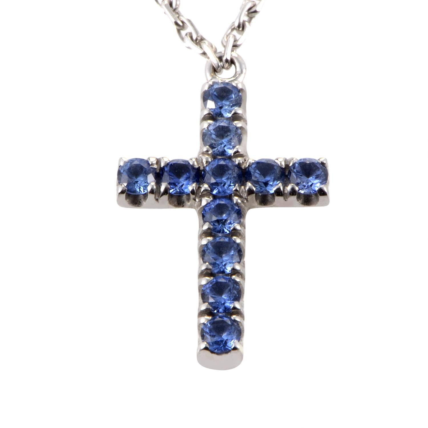 cartier blue sapphire gold cross pendant necklace at 1stdibs