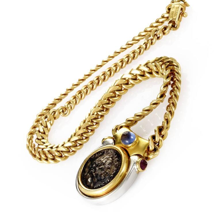 bulgari monete gold platinum ancient coin necklace 2