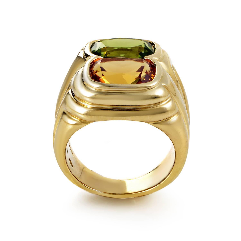 bulgari citrine peridot gold ring at 1stdibs