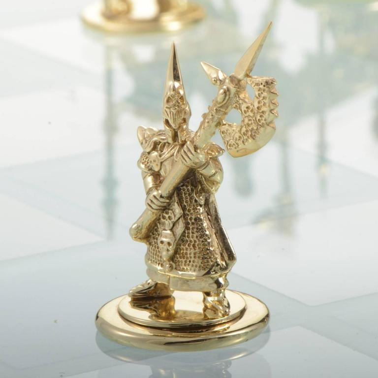 White and Yellow Gold Tempered Glass Chess Set For Sale 5