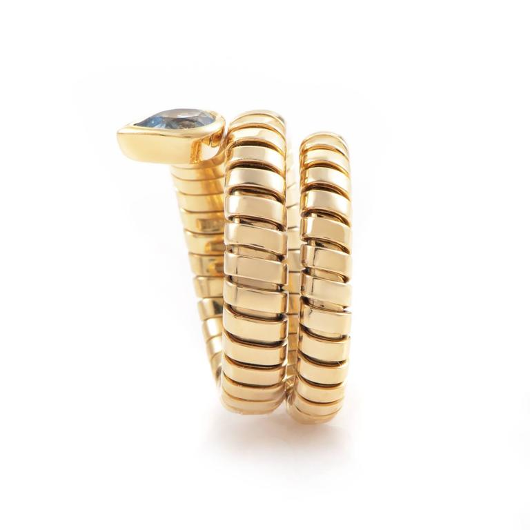 Bulgari Tubogas Topaz Gold Ring In Excellent Condition For Sale In Southhampton, PA