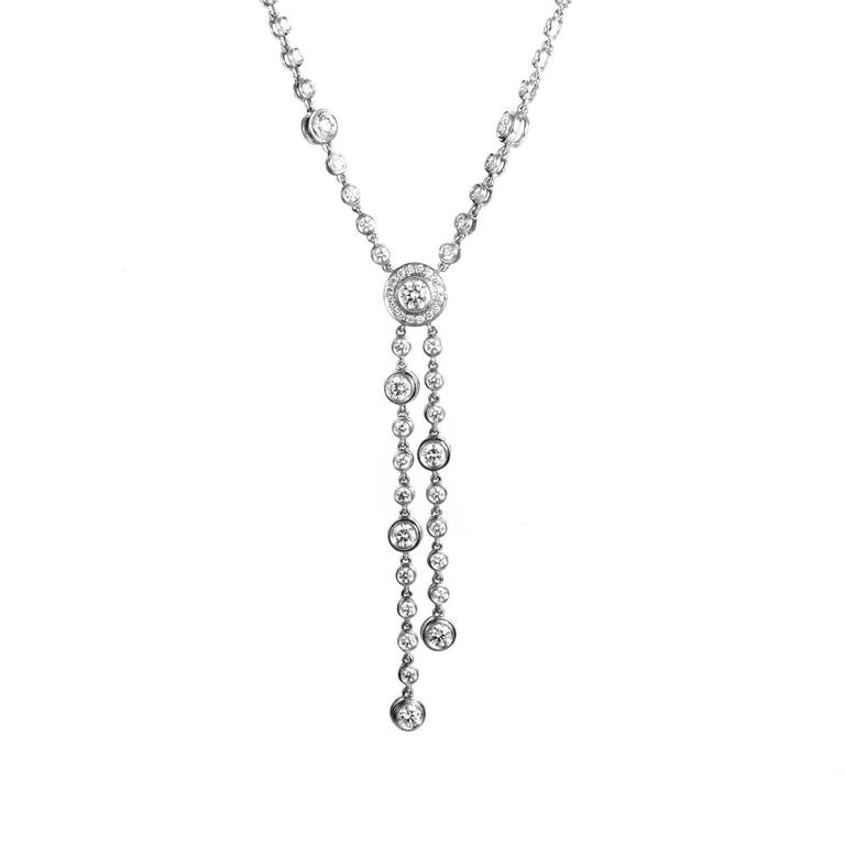 e1ba42fa4 Tiffany & Co. Circlet Platinum and Diamond Double Drop Necklace For Sale