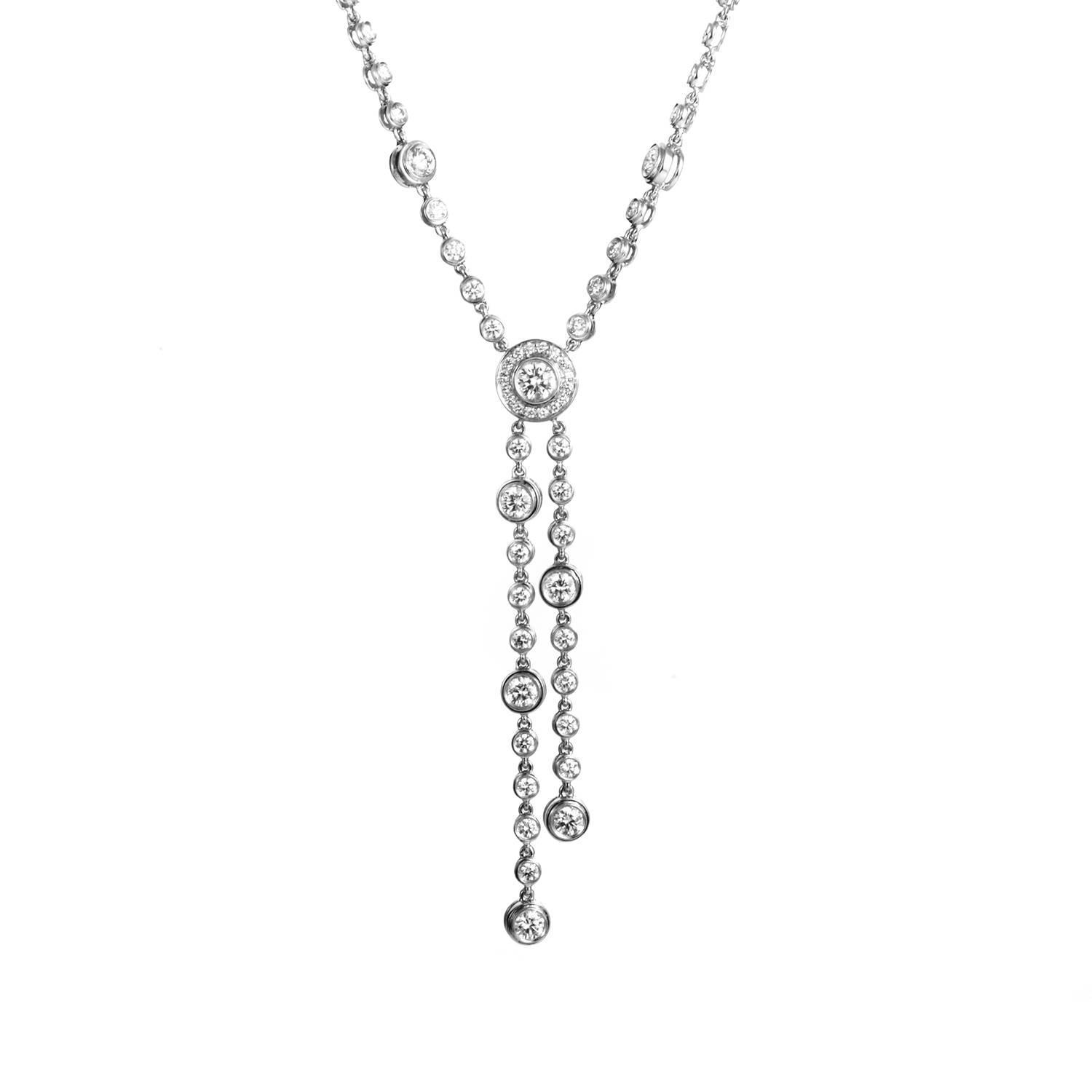 2953a11e11fbb Tiffany & Co. Circlet Platinum and Diamond Double Drop Necklace