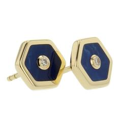 Mark Davis Bakelite Diamond Yellow Gold Stud Earrings
