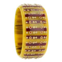 Mark Davis Bakelite Garnet Yellow Sapphire Yellow Gold Bangle