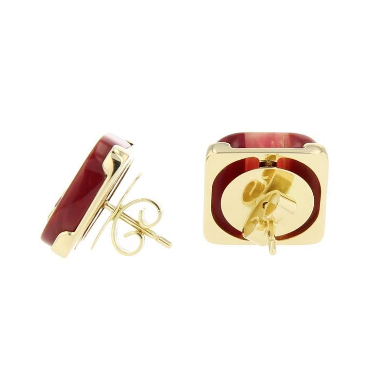 Contemporary Mark Davis Laminated Bakelite Diamond Pink Sapphire Yellow Gold Earrings For Sale