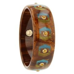 Mark Davis Bakelite Citrine Yellow Gold Bangle