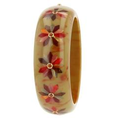 Mark Davis Bakelite Garnet Yellow Gold Bangle