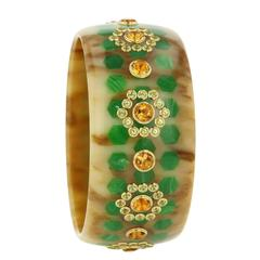 Mark Davis Bakelite Citrine Peridot Yellow Gold Bangle