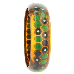 Mark Davis Bakelite Diamond Yellow Gold Bangle