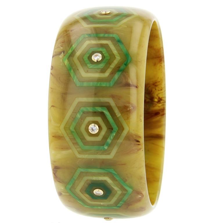 Olive green Bakelite, diamond and yellow gold bangle