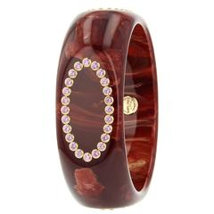 Mark Davis Bakelite Pink Sapphire Yellow Gold Bangle Bracelet