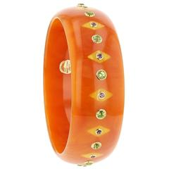 Mark Davis Bakelite Amethyst Peridot Yellow Gold Bangle