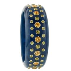 Mark Davis Bakelite Citrine Peridot Yellow Sapphire Yellow Gold Bangle