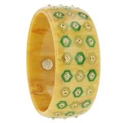 Mark Davis Bakelite Yellow Sapphire Peridot Yellow Gold Bangle bracelet