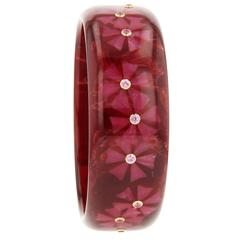 Mark Davis Bakelite Pink Sapphire Yellow Gold Bangle