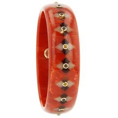 Mark Davis Bakelite Citrine Smoky Quartz Yellow Gold Bangle