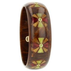 Mark Davis Bakelite Peridot Yellow Gold Bangle