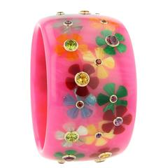 Mark Davis Bakelite Amethyst Garnet Peridot Pink Sapphire Yellow Gold Bangle
