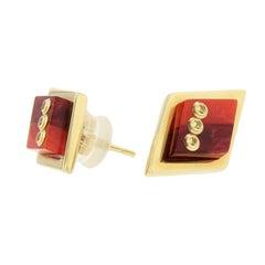 Mark Davis Bakelite Yellow Sapphire Yellow Gold Stud Earrings