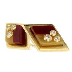Mark Davis Bakelite Diamond Yellow Gold Stud Earrings