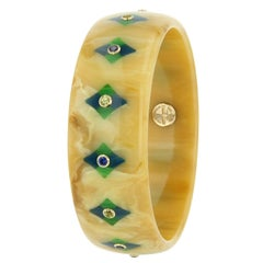 Mark Davis Bakelite Peridot Blue Sapphire Yellow Gold Bangle