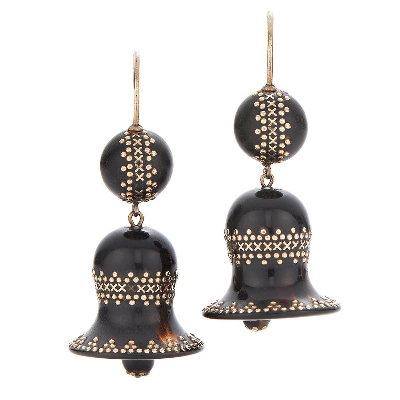 Antique Tortoiseshell Pique Bell Pendant Earrings 1