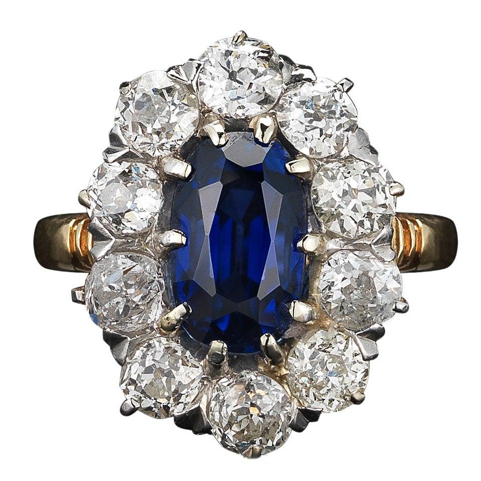 Victorian Oval Sapphire Diamond Gold Platinum Cluster Ring