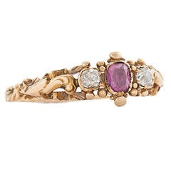 Georgian Ruby Diamond Gold Ring